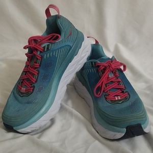 Hoka One One Bondi Green Pink Running Shoes 7